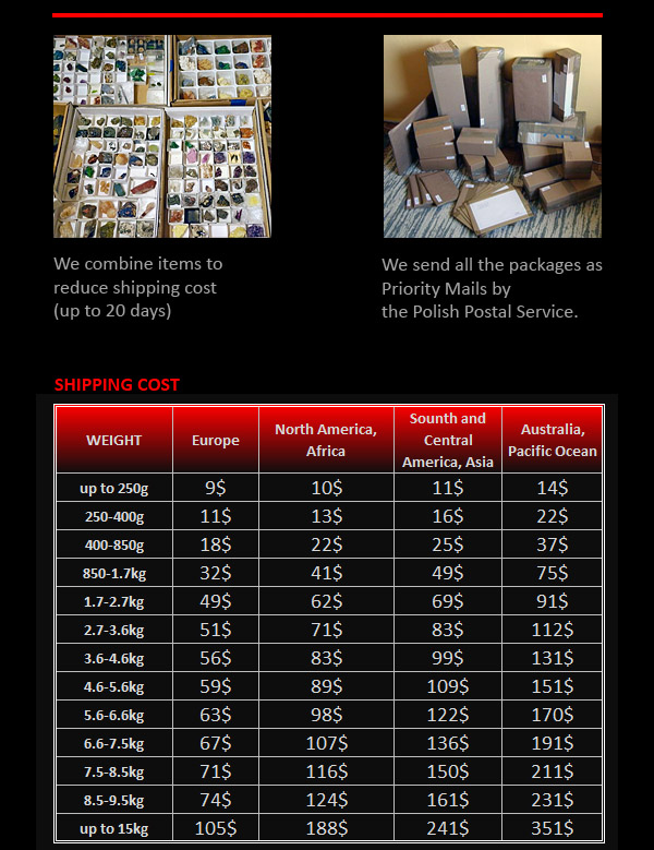 Shipping costs table